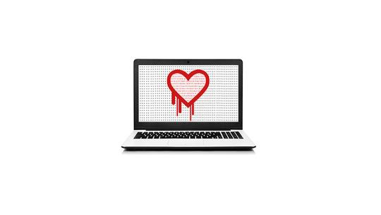 Computer with bleeding heart on screen