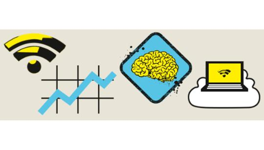 A Wi-Fi symbol next to a graph, next to a brain sign, next to a computer on a cloud with a wi-fi symbol