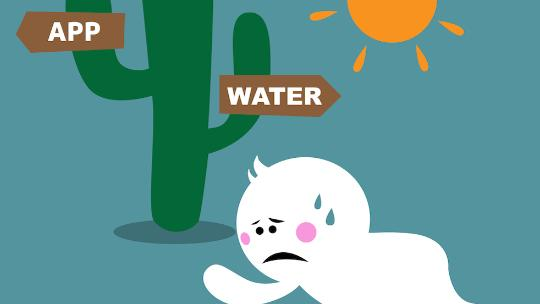 illustration of man in dessert passing water or app signs