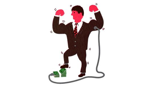 cartoon man in suit pumping up arms with money