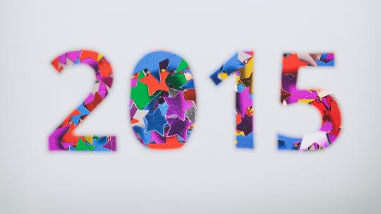 colourful 2015 on grey background