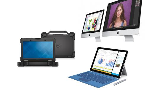 Apple iMac, Dell notebook, Surface Pro 3