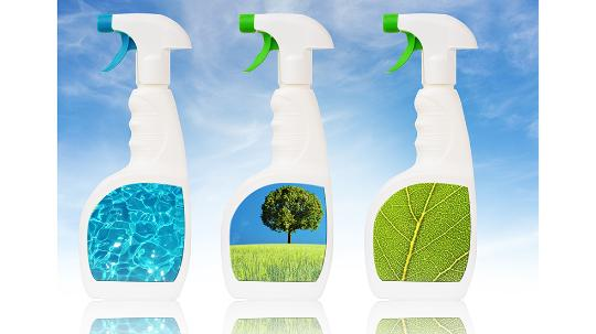 Bottles with water, tree and a leaf on them