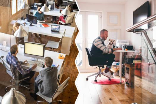 Image comparing workers in a traditional office setting and an employee working remotely from his home.