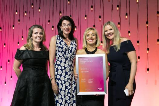 Toni Moate and her team with her 2017 Telstra Tasmanian Business Woman of the Year award.