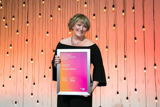 Michelle Gallaher with her Telstra Victorian Business Woman Entrepreneur Award