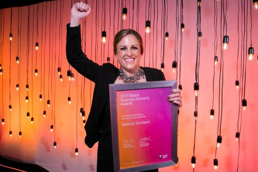 Belinda Tumbers with her 2017 Telstra New South Wales Business Woman of the Year Award.